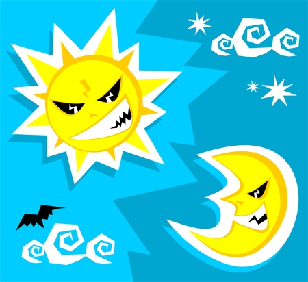 angry sky: Cartoon angry sun and moon. Halloween illustration.