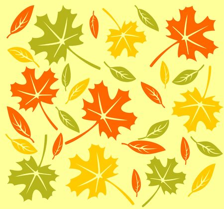 sycamore leaf: Autumn leaves pattern on a yellow background.