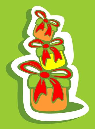 three gift boxes: Tres cajas de regalo aislados sobre un fondo verde.