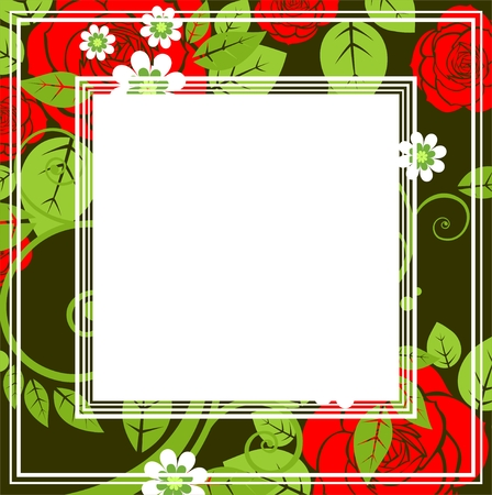 rose silhouette: Stylized border with red roses on a dark background. Illustration