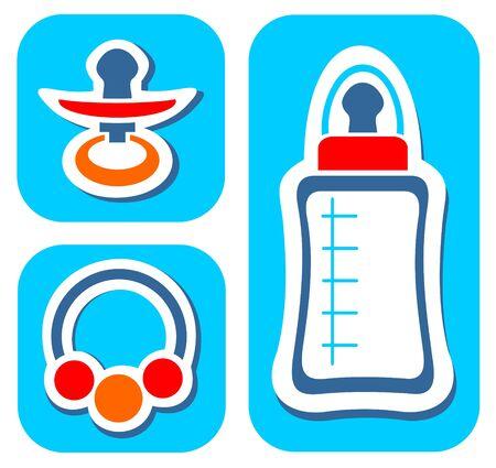 beanbag: Newborn symbols set isolated on a blue background.