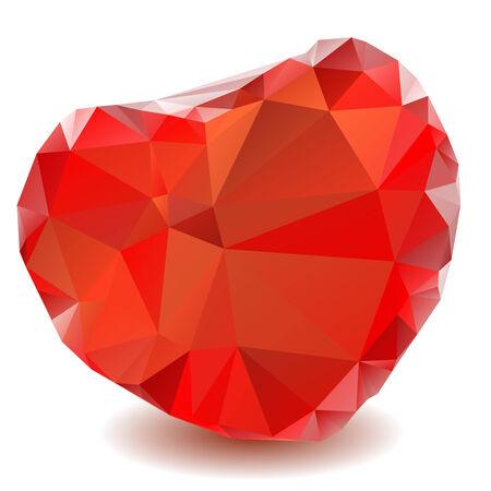 corazon cristal: Coraz�n de cristal rojo aislado en un fondo blanco. Vectores
