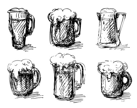 stout: Sketches of beer mugs isolated on a white background. Illustration
