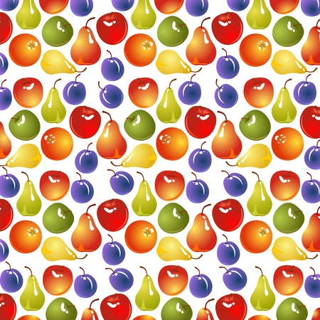 Pattern with fruits on a white background. Vector