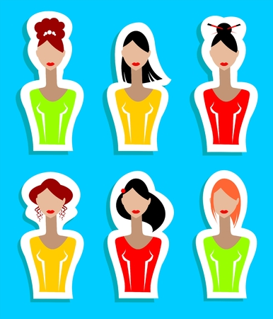 brown haired girl: Six stylized women silhouettes isolated on a blue background.