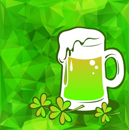 suds: Beer green glass on a green polygonal background.