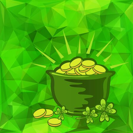 money background: Leprechaun gold and clover on a green background for St. Patrick Stock Photo