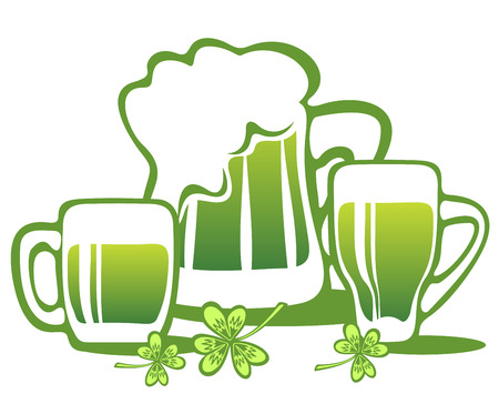 st patrics: Three green beer mugs isolated on a white background. Illustration