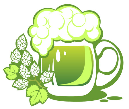 patrics: Green beer mug and hop isolated on a white background.
