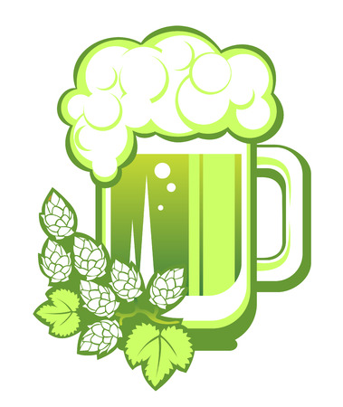 st patrics: Green beer mug and hop isolated on a white background.