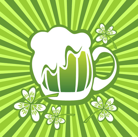 st patrics: Green beer mug and clover on a striped background. Illustration