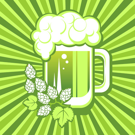 patrics: Green beer mug and hop on a striped background.