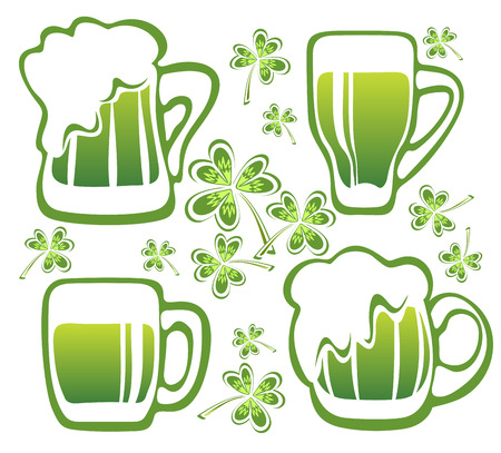 st patrics: Four green beer mugs and clover isolated on a white background.