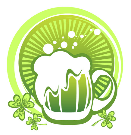patrics: Green beer mug and clover on a striped background. Illustration