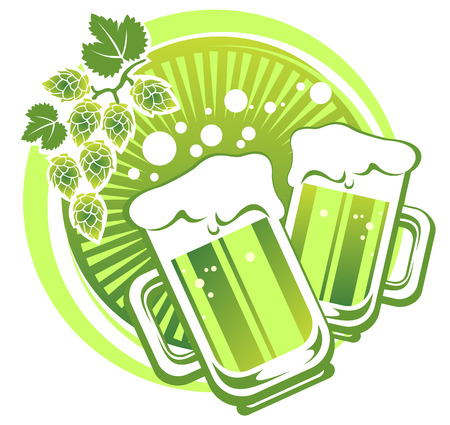 patrics: Two green beer mugs and hop on a striped background.