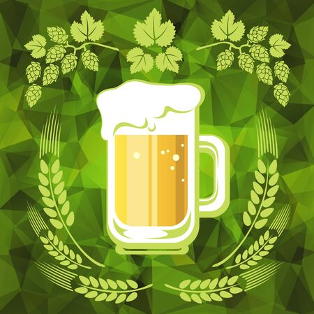 stout: Beer and hop on a green polygonal background.