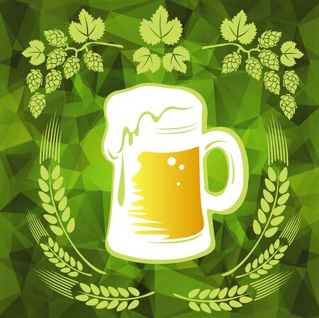 stout: Beer and wheat ears on a green polygonal background.