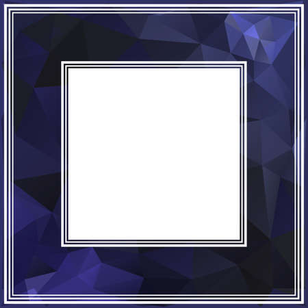 Abstract polygonal border with dark blue triangles. photo