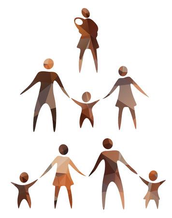 familias unidas: Estilizado siluetas de símbolos familiares aislados en un fondo blanco.