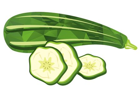 courgette: Stylized zucchini and slices isolated on a white background. Illustration