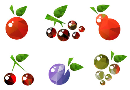 Stylized fruits set isolated on a white background. Иллюстрация