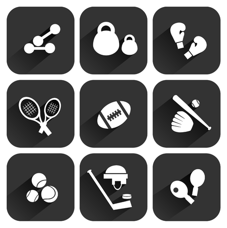 weightlifting gloves: Stylized sports equipment icons set isolated on a dark background.