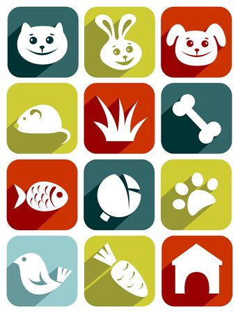 Icons set with animal symbols isolated on a white background. Vector