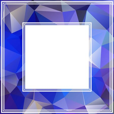 Blue abstract dark border with polygonal triangles. Vector