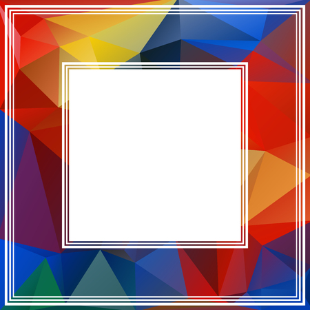blue violet: Bright polygonal border with blue and red triangles. Illustration