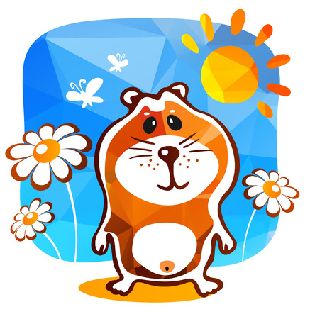 cute hamster: Cute hamster and flowers  on a blue background.
