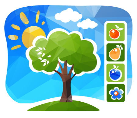 pear tree: Stylized apple tree with fruits on a blue background.
