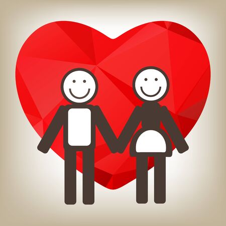 love and friendship: Man and woman with red heart on a gray background. Illustration