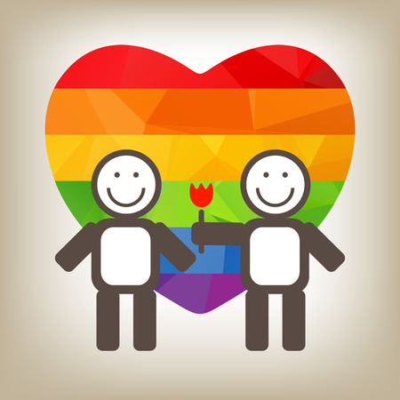 gay couple: Teen gay couple and flower on a gray background.