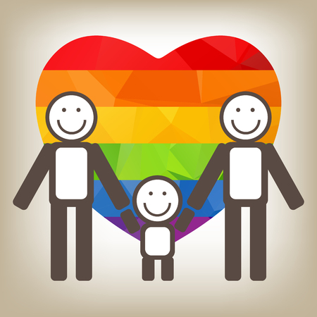 amor gay: Siluetas de la familia gay sobre un fondo gris.