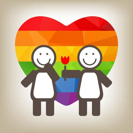 lesbian: Un couple de lesbiennes et de fleurs sur un fond gris.