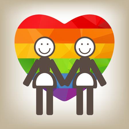 lesbian: Un couple de lesbiennes et de coeur d'arc sur un fond gris.