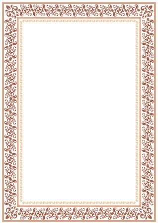 gentle: Gentle brown floral border on a white background.