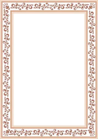 vegetal: Brown ornate floral border on a white background. Illustration