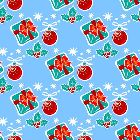 berry: Holly berry and gift box. Seamless pattern. Illustration