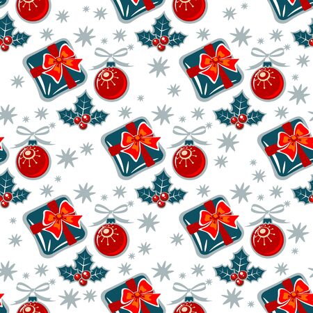 gift pattern: Holly berry and gift on a white background. Seamless pattern.
