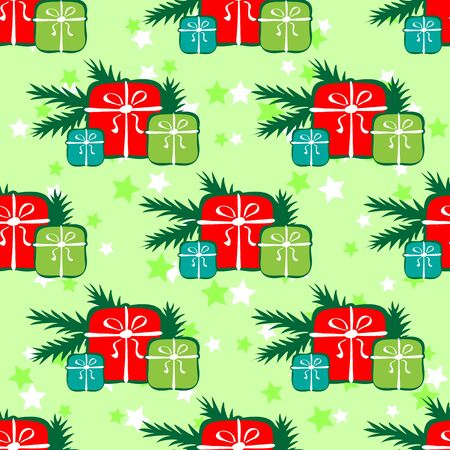 three gift boxes: Three gift boxes and fir tree. Seamless pattern. Vectores