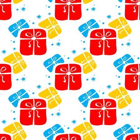 gift pattern: Stylized gift boxes on a white background. Seamless pattern. Illustration