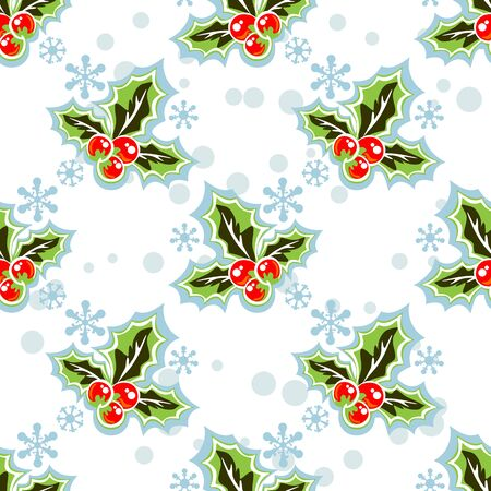 holly berry: Holly berry silhouettes on a white background. Seamless pattern.. Illustration
