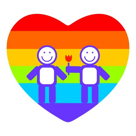 tolerance: Gay couple and rainbow heart on a white background. Illustration
