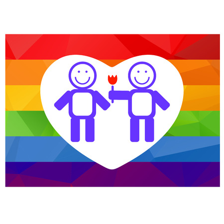 homosexual couple: Gay couple and flower on a rainbow heart background.