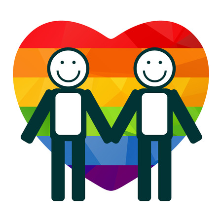 gay couple: Gay couple silhouettes on a rainbow heart background. Illustration