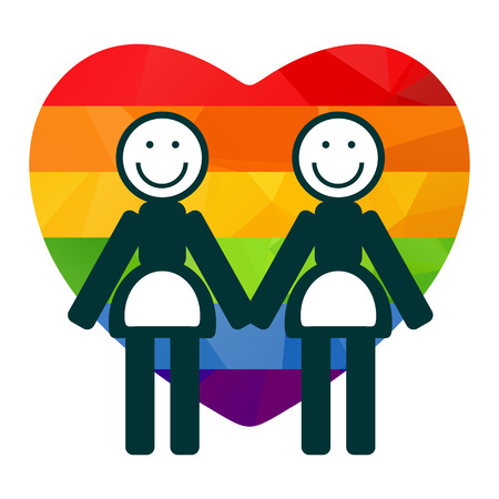 lesbian: Lesbian couple with rainbow heart on a white background. Illustration