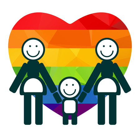 homosexual couple: Lesbian family with rainbow heart on a white background.