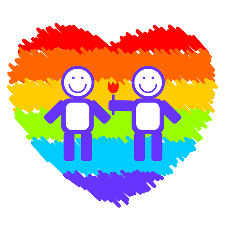 homosexual couple: Gay couple on a grunge rainbow heart background. Illustration