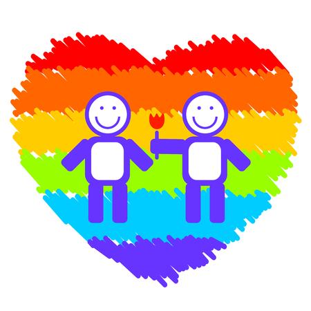 gay couple: Gay couple on a grunge rainbow heart background. Illustration